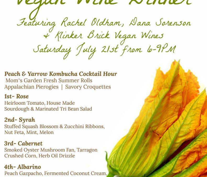 Dancing Bear Exploring Vegan Cuisine at a Special July 21st Wine Dinner