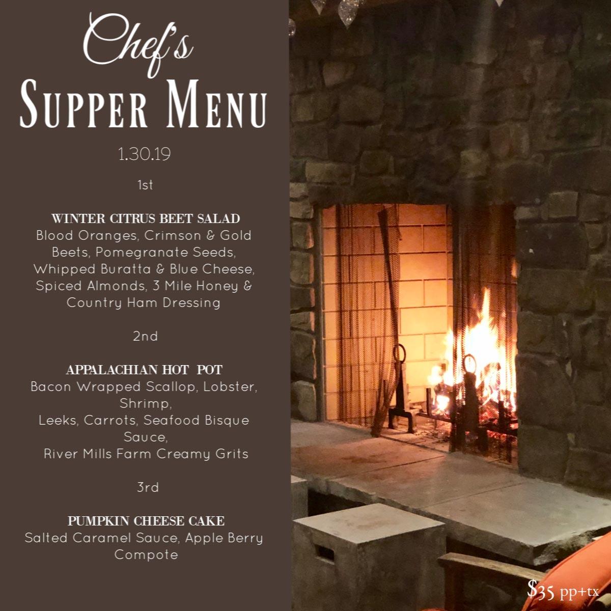 Chefs Supper Sample Menu