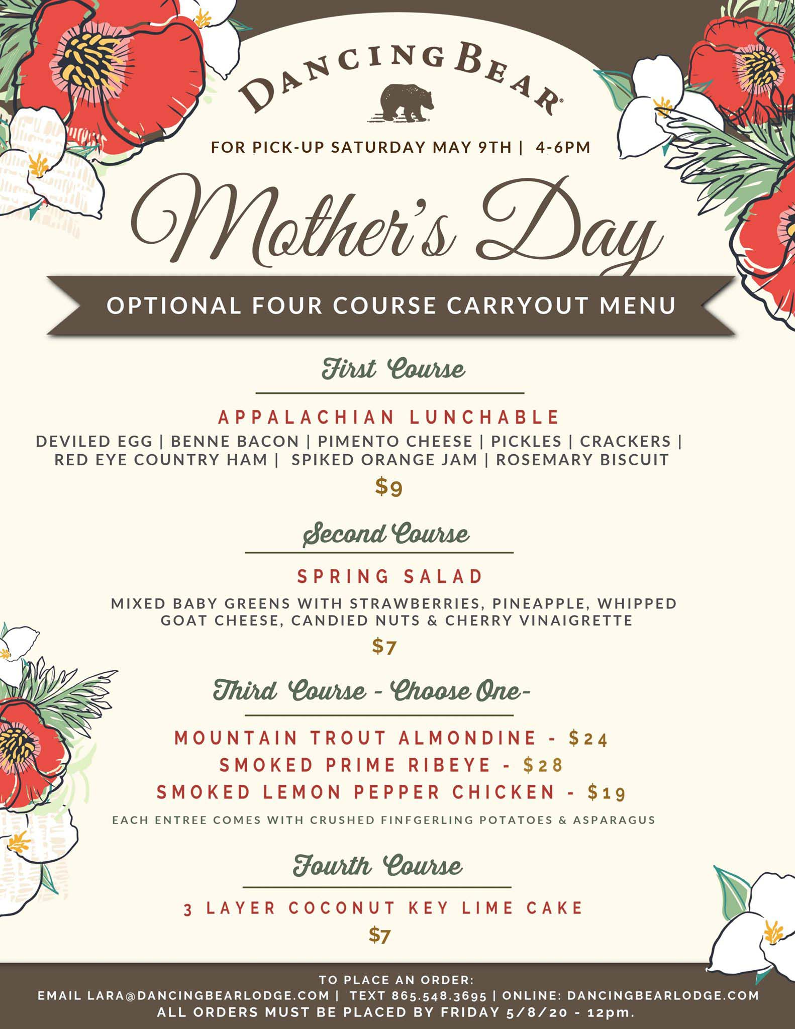 Dancing Bear Mother's Day Brunch Menu