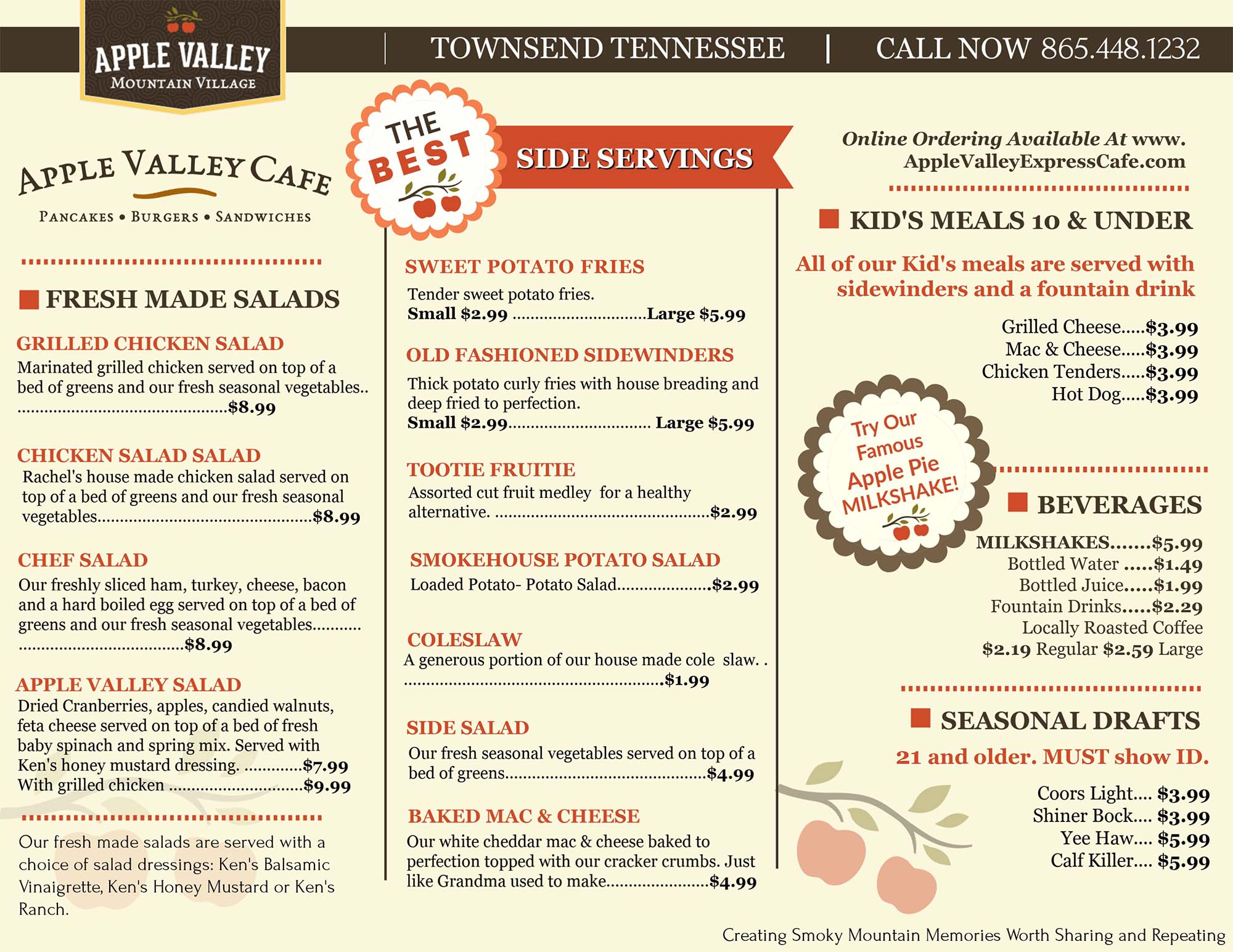 Apple Valley Cafe Menu
