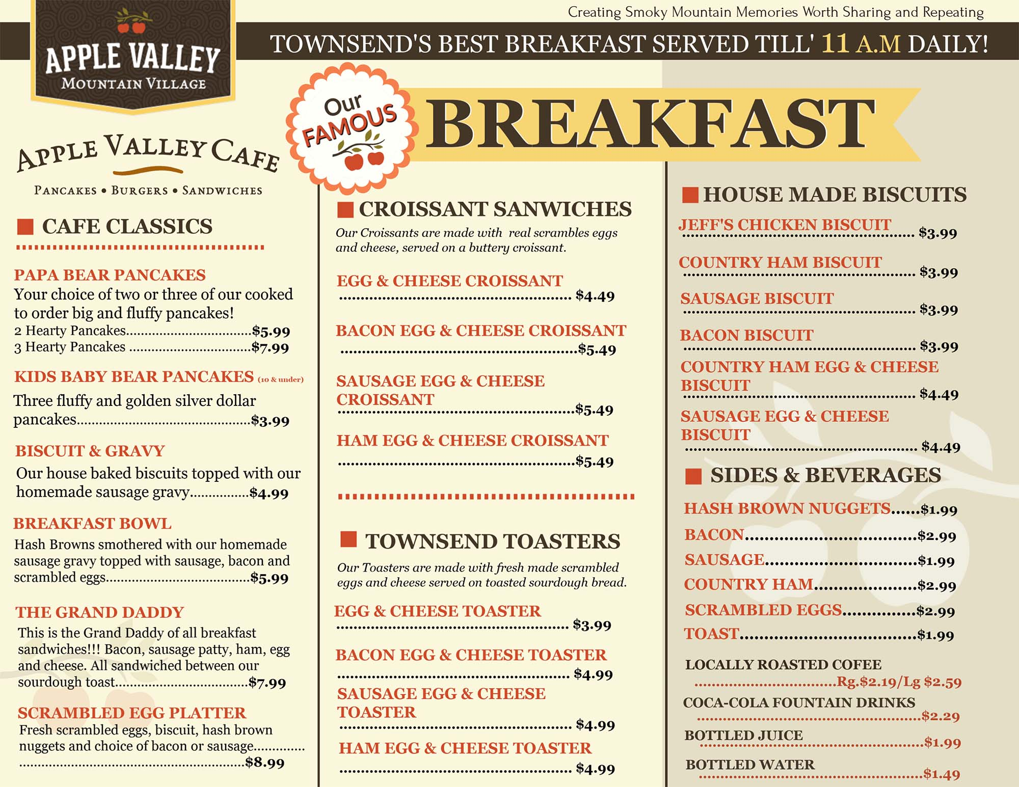 Apple Valley Cafe Breakfast Menu