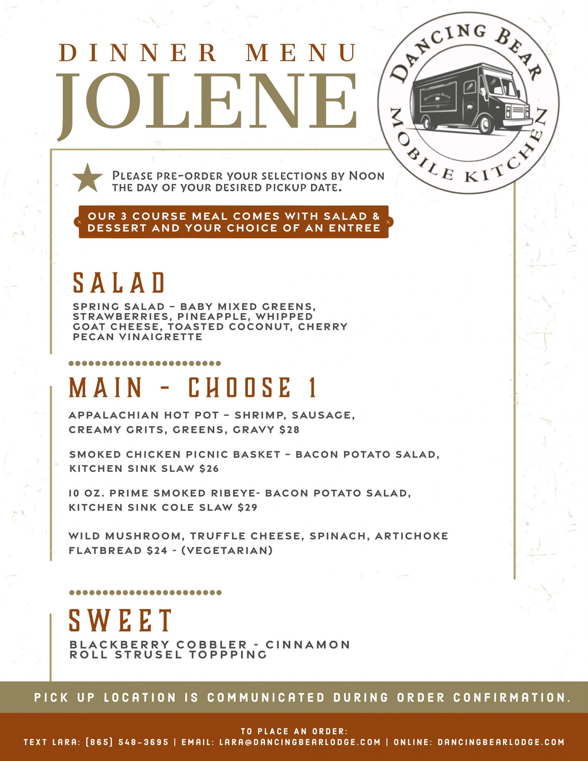 Jolene Dinner Menu