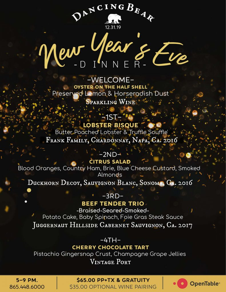 New Years Dinner Menu 2019