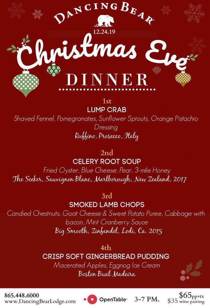 christmas dinner menu 2019