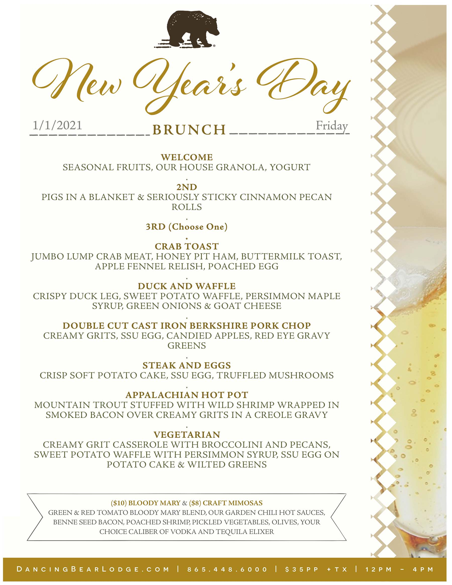 New Years Dinner Menu